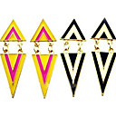 European Triangle And Chain Golden Alloy Stud Earrings(Black-White,Rose,Yellow) (1 Pair)