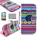 COCO FUN® Red Tribal Carpet Pattern PU Leather Full Body Case with Screen Protector, Stylus and Stand for HTC One M8