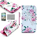 COCO FUN® Rose Flower Pattern PU Leather Full Body Case with Screen Protector, Stylus and Stand for HTC One M8