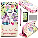 COCO FUN® Lovely Birdcage Pattern PU Leather Full Body Case with Screen Protector, Stylus and Stand for iPhone 5C