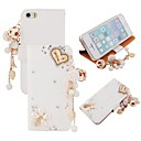 Elonbo Bling Rhinestone Love  Leather Wallet with Stand Full Body Case for iPhone 5