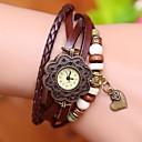 Coway Роуз Сердце Женская Круглый циферблат Кожаный ремешок кварцевые аналоговые Braceiet часы (ассорти цветов)