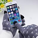 Серый узор хлопок 5-Finger емкостный экран Прикосновение Зимние перчатки для iPhone / IPad и другие