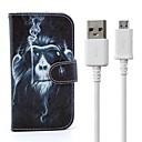 Курение Обезьяна Pattern PU кожаный чехол для всего тела с подставкой USB к Micro USB зарядка кабель для передачи данных Galaxy S4 i9500