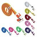 100CM нейлон высокого качества плоским USB кабель для iPhone4 / 4S Ipad 2 и IPod (разных цветов)