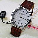 Мужская Бизнес Простой круглый циферблат ПК Движение кожаный ремешок Мода Кварцевые часы (разных цветов)