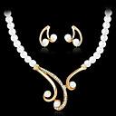 Hochzeit / Party-Halsketten / Ohrringe(Aleación / Künstliche Perle / Strass / vergoldet)