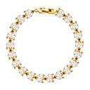 Charm Bracelets 18K Gold Plated Chain Rhinestone Flower Leaf Bracelet Bangles Romantic Gift For Women Jewelry B40173