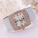 Lady's Large Crystal Case Gold Leather Band Wrist Fashion Dress Watch Jewelry for Wedding Party