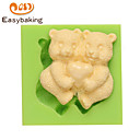 Animal Mould Couple Teddy Bears Fondant Silicone Molds for cake decorating Colour Random