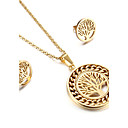 Kalen Women New Jewelry Sets Stainless Steel Bulgaria Gold Plated Twisted Chain Plant Tree of Life Pendant Necklace And Earrings Sets