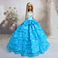 Barbie Doll Marine Queen Blue Ambroidered Princess Wedding Dress