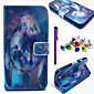 Wolf Family and Dream Catcher Pattern PU Leather Case with Anti-dust Plug and Stylus for Wiko Lenny
