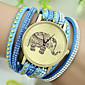 Women's European Style Fashion Rhinestone Rivets Elephant Pattern Bracelet Watch
