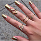 Alloy Golden Plated Adjustable Ring Set (Set of 5)